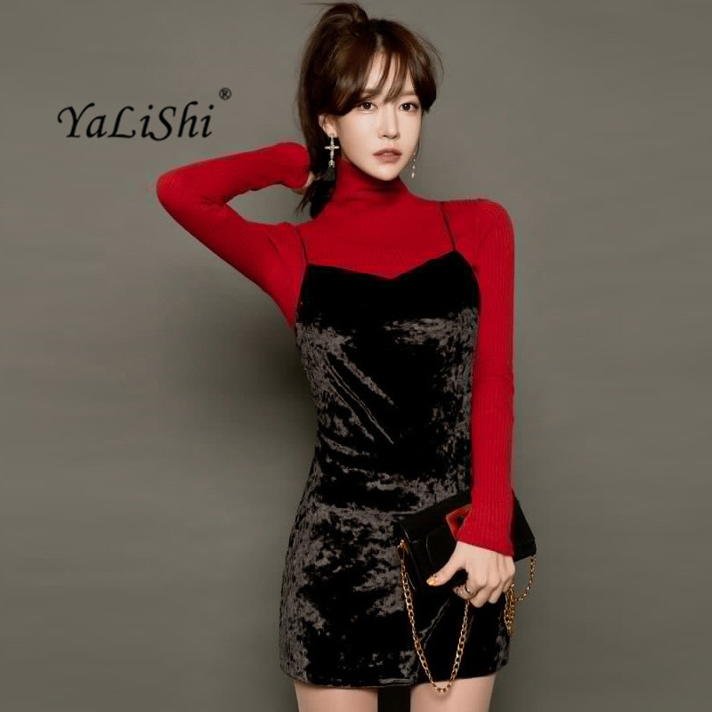 2 Pieces Sweater Dresses Red Knitted Long Sleeve Turtleneck Bandage Women Dress Sexy Party Black Velvet Spaghetti Strap Dress