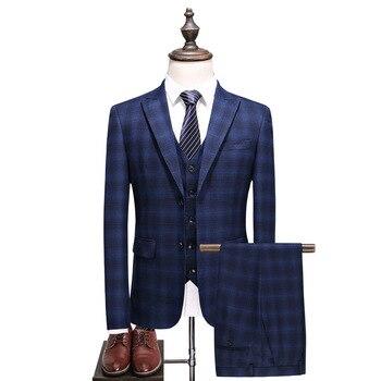Men's suit men's spring and autumn new business casual plaid suit three-piece suit (jacket + pants + vest) men's banquet dress