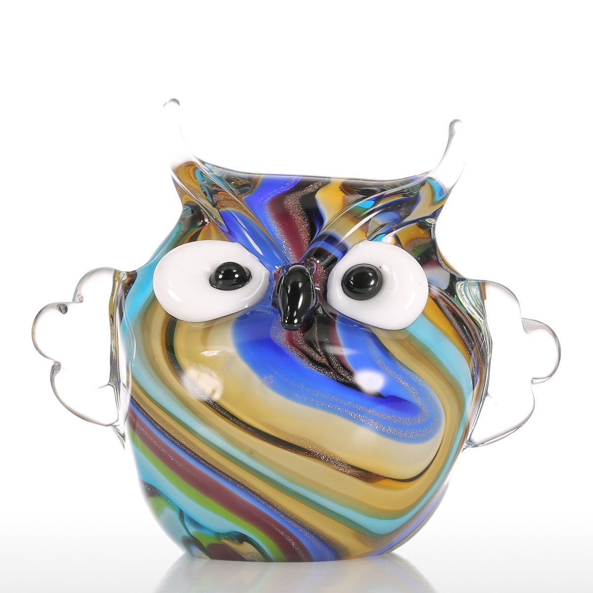 Glass animal ornaments - Tooarts Colorful Owl Gift Glass Ornament Animal Figurine Handblown Home Decor Multicolor Home Decoration Crafts Figurines