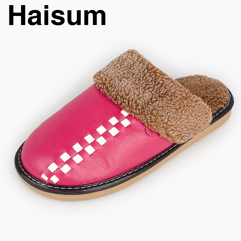 Ladies Slippers Winter genuine Leather Thick With Plush Home Indoor Non-slip Thermal Slippers 2018 New Hot Sale Haisum Tb014 men s slippers winter pu leather home indoor non slip thermal slippers 2018 new hot haisum h 8007