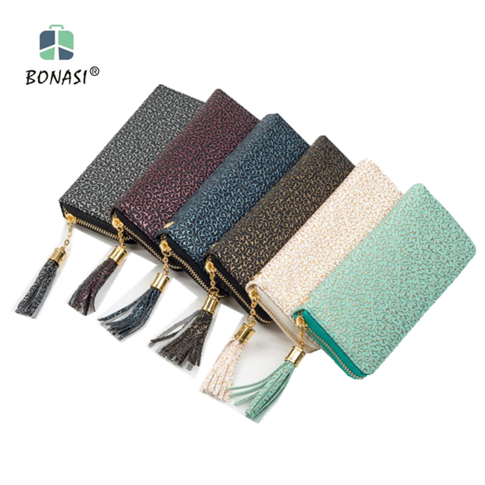 2017 New Flower Leather Vintage Long European Simple Large Capacity Women Wallet Clutch Zipper Change Purse Hasp Money Bag dollar price new european and american ultra thin leather purse large zip clutch oil wax leather wallet portefeuille femme cuir