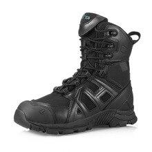 Hombres Tácticos Invierno Botas de Goma de Cuero Genuino Para Hombre de la motocicleta Del Ejército Botas de Seguridad Zapatos de trabajo Botas Militares de Combate Del Tobillo