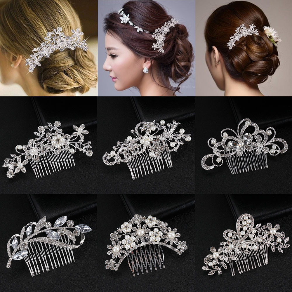 Headpiece Jewelry Hairpins Hair-Accessories Bridal-Hair-Comb Crystal Pearl Bridesmaid
