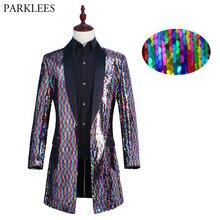 Chaqueta larga con cuello chal para hombre, chaqueta masculina con lentejuelas, colores cambiantes de arcoíris, chaqueta para fiesta, escenario, cantante, traje de noche para discoteca