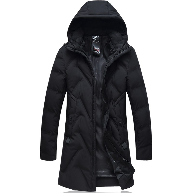 2018 New Arrival Winter Style Men Boutique Long Black   Down     Coats   High Quality Hooded Solid Thick Warm   Down     Coat   Size L-4XL