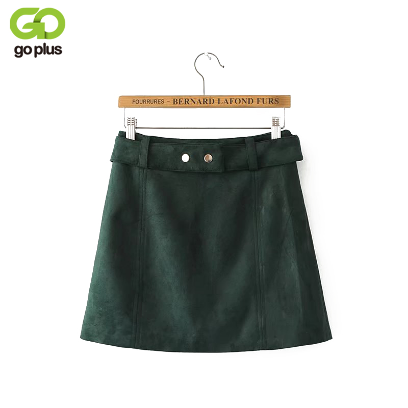 GOPLUS Black Green Sexy 2019 Suede Women Vintage Skirt Sashes Party Short Mini Ladies Skirts Side Zipper Skirt Faldas Mujer