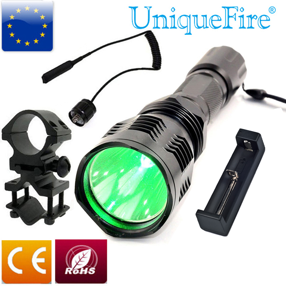 UniqueFire HS-802-XRE Led Green Light Flashlight torch + Remote Pressure Switch+Barrel Mount+Charger for outdoor Hunting цена