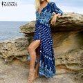 ZANZEA Women Vintage Print Long Dress 2017 Bohemian Sexy V Neck 3/4 Sleeve Casual Loose Split Beach Maxi Party Dresses Vestidos