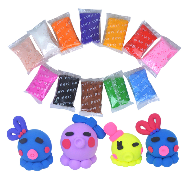 JOY MAGS 12 Colors/bag Air Drying Soft Polymer Modelling Clay With Tools Play Dough Plasticine Silly Putty Gift for Kid Birthday