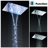 Stainless Steel Shower Head Rain Style LED Showerhead Waterfall Effect Elegantly Designed High Polish 360x500mm