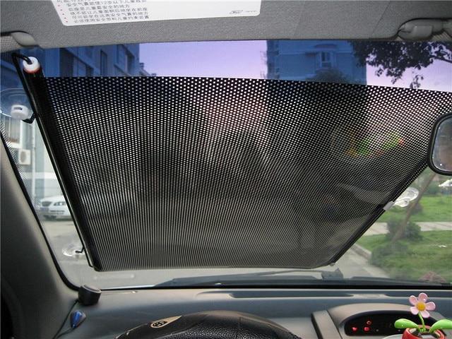 125*68cm Car Auto Retractable Car Sunshade Front Window Solar Protection Sunscreen PVC + Metal Rod Car Front Rear Windshield