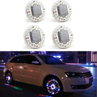 4 ADET RGB Powered Araba Tekerlek Dış Işıklar Renkli Otomatik Dönüş ON/OFF Tekerlek RGB Lastik LED Dekorasyon Lastik Hub Uyarı işık