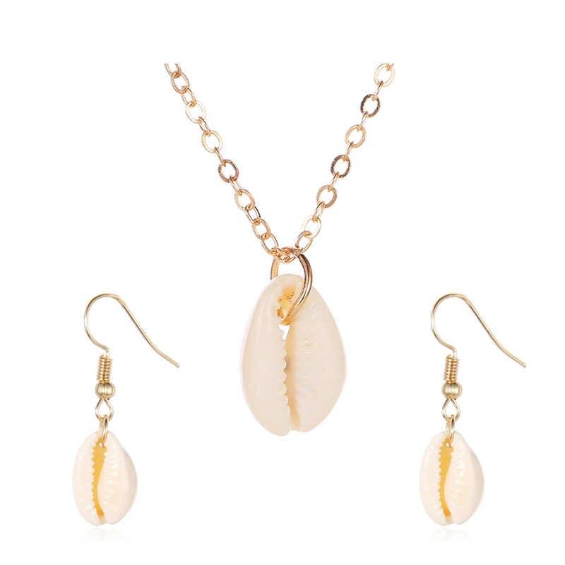 Neue Shell Anhänger Schmuck Sets Für Frauen Gold Farbe 2PC Multilayer Halskette Ohrringe Set Böhmen Schmuck Afrikanischen Schmuck-Set