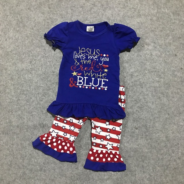 e39b81331044 Baby girls summer clothing girls July 4th Jesus Love you capri pants clothes  kids blue top with stripe star ruffle capri outfits
