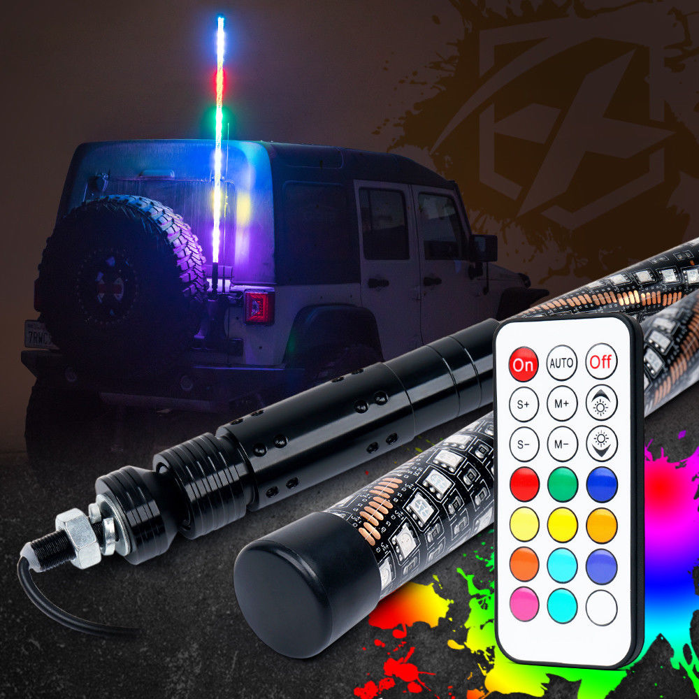 6/' Green LED Whip Light Quick Connect Mount+Flags UTV ATV SUV Offroad 4WD Car
