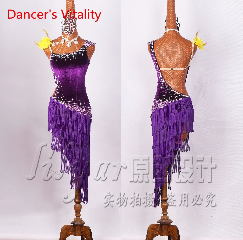 New Customizable Latin Dance Costumes Senior Sexy Stones Tassel Latin Dance Dress For Women Latin Dance Compeititon Dresses