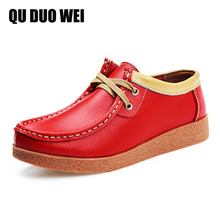 2018 New Fashion Women Oxford Shoes Soft Split Leather Lace-Up Women Flat Shoes Spring Autumn Ladies Flats Moccasins Creepers