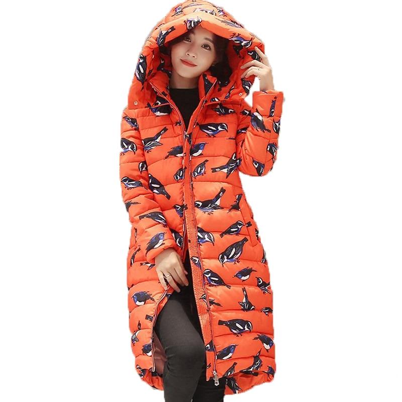 New 2017 Winter Thick Parkas Mujer Women Slim Long Sleeve Hooded Bird Printing Coats Medium Long  Padded Jacket Casaco Feminino