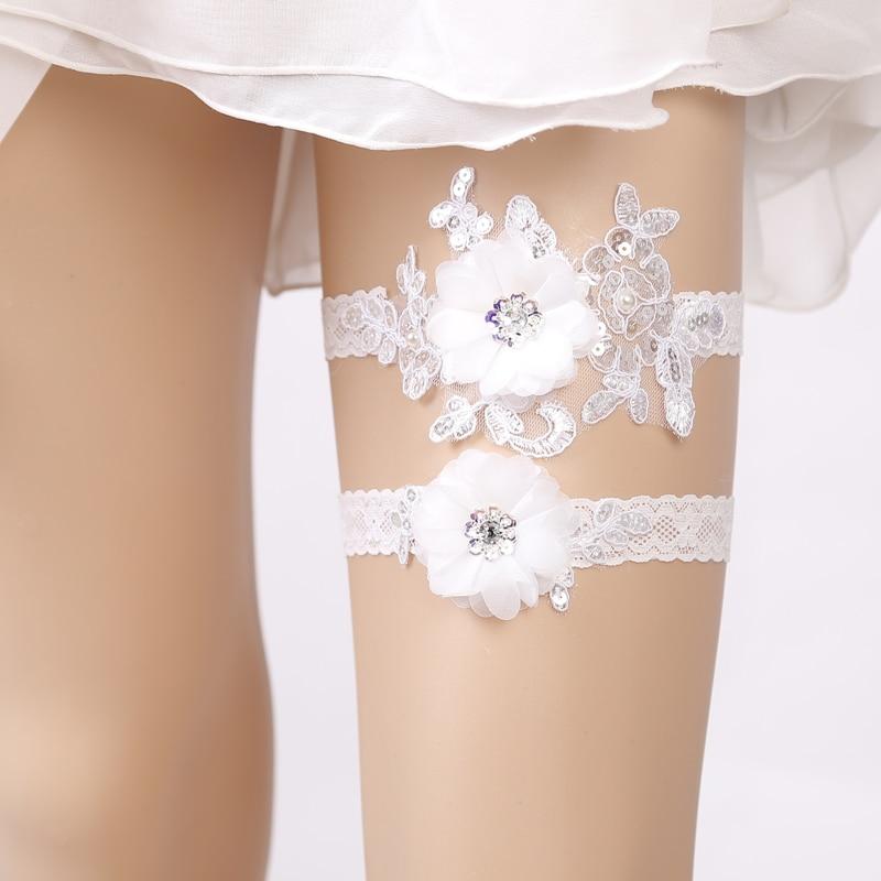 Wedding Garters Rhinestone Blue Lace Sexy Garters 2pcs Set