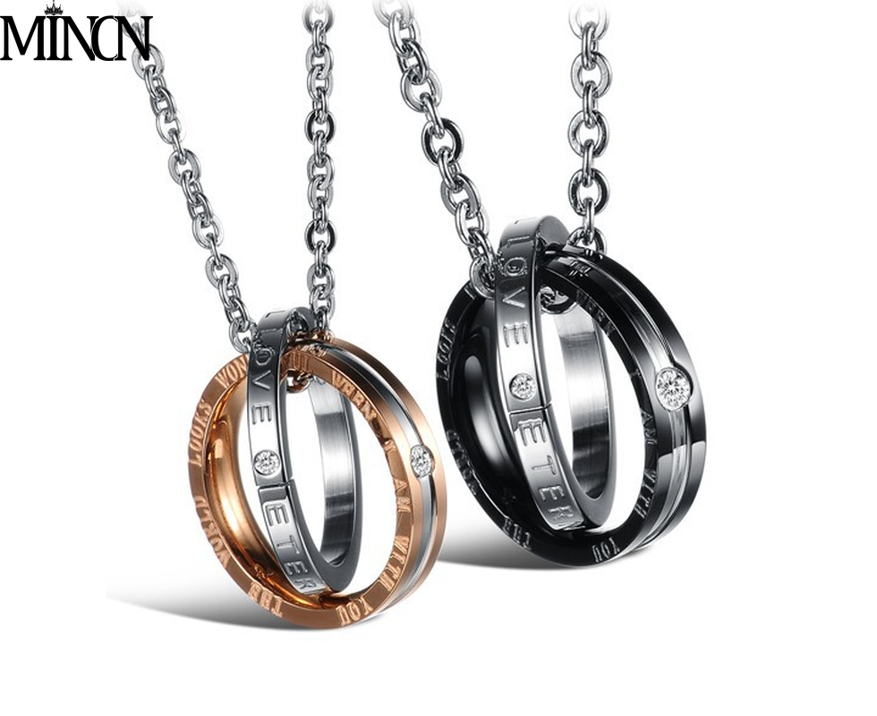 MINCN Pendant with water drill titanium steel couple necklace Necklace ornaments LOVE pendant  jewelry