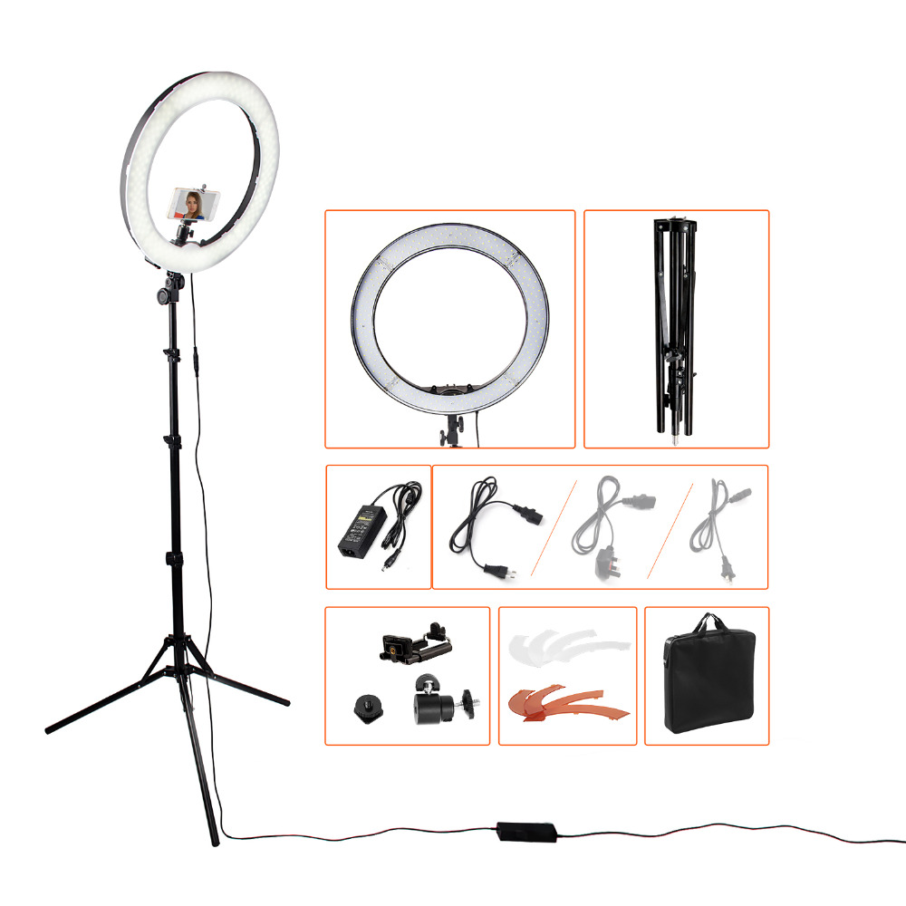 18240pcs LED 5500K Dimmable Photography Photo/Studio/Phone/Video LED Ring Light Lamp With Tripod Stand For Camera yongnuo yn128 camera photo studio phone video 128 led ring light 3200k 5500k photography dimmable ring lamp for iphone 7 7 plus