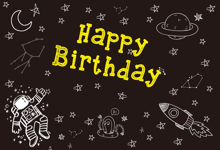 Laeacco Baby Cartoon Spaceship Themed Birthday Party Pattern Poster Photo Backgrounds Photography Backdrops For Photo Studio in Background from Consumer Electronics