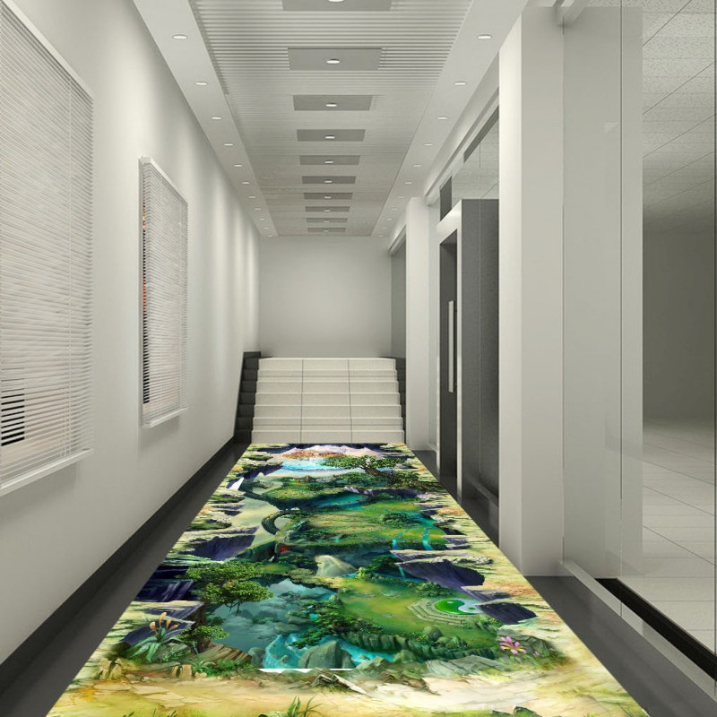 Free Shipping Landscape 3D floor painting thickened waterproof living room bathroom flooring self-adhesive wallpaper mural free shipping 3d living room dining room kitchen bathroom foyer waterproof self adhesive fish flooring wallpaper mural fh 023