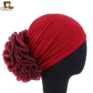 Image 5 - Новинка, Женский тюрбан с большими цветами, шапка, мусульманский головной платок, головной убор с наполнителем, женская мягкая женская шапка, Мусульманский Стиль