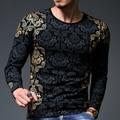 Best Men T Shirt 2016 Autumn Men's Famous Brand T-Shirt Fashion Slim Dragon Print Funny T Shirt Plus Size Long-Sleeved Clothing