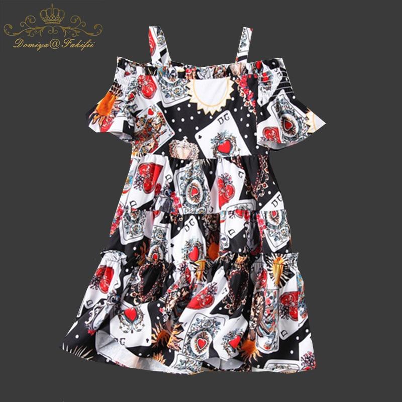 Girl Dress Printed Playing Card Strap Dress Summer Off-shoulder Dresses 2018 New Brand Child Girls Clothing Children's Clothes open shoulder printed dress
