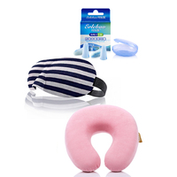 quality comfortable neck pillow earplugs eye mask 3 pcs travel set Shading sleep goggles
