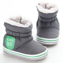 Купить с кэшбэком 2016 New Baby Boy Snow Boots Warm Plush Winter Navy Infant Boot Toddler Shoes Soft Prewalker Shoe