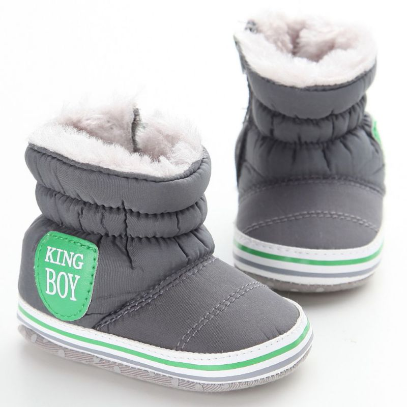 New Baby Boy Snow Boots Warm Plush Winter Navy Infant Boot Toddler Shoes Soft Prewalker Shoe
