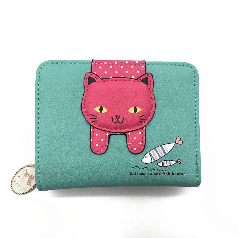 Women cute cat wallet small zipper girl wallet brand designed pu leather women coin purse female card holder wallet billetera 6