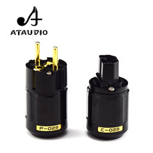 ATAUDIO Hifi Power Plug High Quality Gold plated One Pair Eu Power Connector IEC female connector
