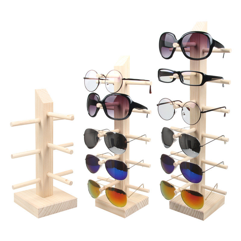 2/3/4/5/6 Layers Wood Sunglass Display Rack Shelf Eyeglasses Show Stand Jewelry Holder For Multi Pairs Glasses Showcases