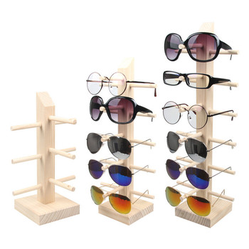 2/3/4/5/6 Layers Wood Sunglass Display Rack Shelf Eyeglasses Show Stand Jewelry Holder for Multi Pairs Glasses Showcases image