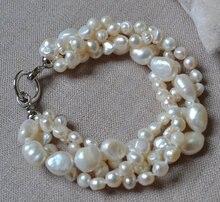 Joyería perfecta de la perla de las mujeres, color blanco 4 filas barroco pulsera de agua dulce verdadera de la Perla del 100%, 8 pulgadas 6-10mm