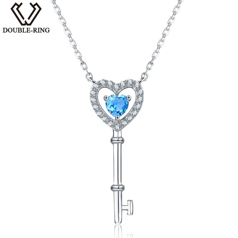 DOUBLE-R 0.45ct Véritable Naturel Bleu Topaze Collier 925 Pendentifs En Argent Sterling Colliers Amende De Bijoux De Mariage pour les femmes