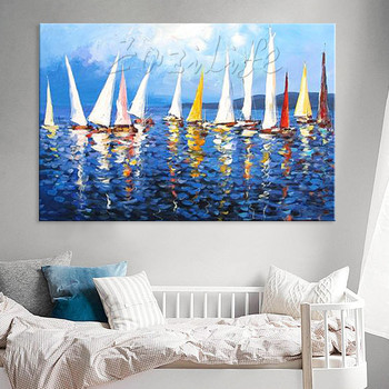 Hand painted canvas oil paintings Cheap large boat modern abstract oil painting wall decor Art pictures for living room 8