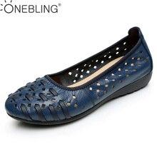 Más el Tamaño 34-43 Sandalias de Las Mujeres Planas de Cuero Genuino Zapatos de Mujer Suave Femeninos Zapatos de Verano de Moda Sandalias de Las Mujeres