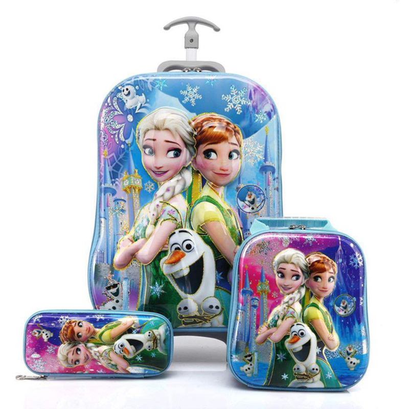 3D Anime Stereo Student Trolley Case Cute Kids Travel Suitcase Boy Girl Cartoon Lunch Bag Pencil Box The Avengers Children Gift