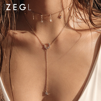 ZEGL with dress double layer necklace for women clavicle chain ins cool moon with jewelry necklace