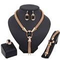 Women Blue Color Tassel Necklace Bracelet Set  Gold Plated Crystal Jewelry Sets With Box Wedding Bridal African Costume