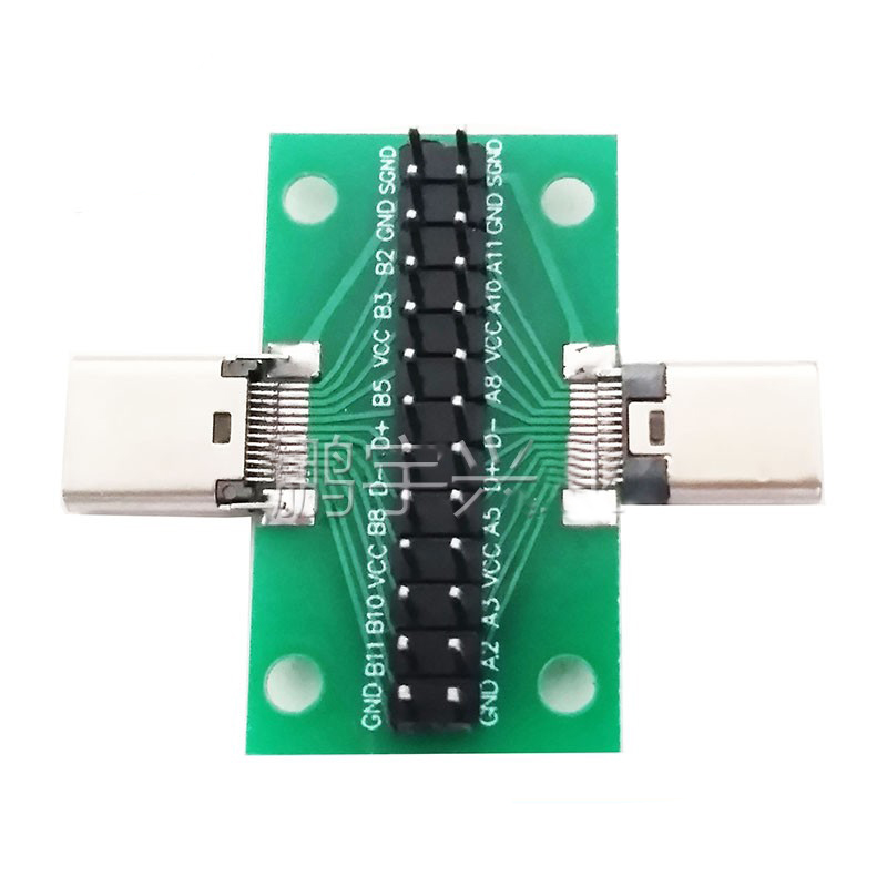 Male To Female Type C Test  PCB Board Universal Board With USB 3.1 Port 20.6*36.2MM Test Board With Pins