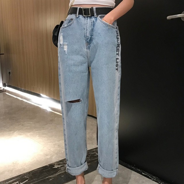 Streetwear Summer Spring High Waist Loose Letter Print Wash Women Denim Pants Korean Style Hole Wide Leg Ladies Curling Jeans