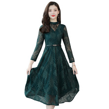 цены Women Autumn Stand Collar Long Sleeve Lace Dress Ladies Casual Solid A-line Party Dresses Vestidos