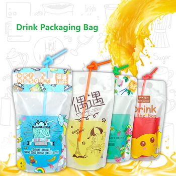 500pcs/lot 500ml Cute Design Stand Up Plastic Drink Packaging Bag Pouch for Beverage Water Juice Milk Coffee, with Hole Handle