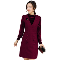 Корейские модные Текстильные женские наряд новый праздник два Pleuche лоскутное платье Длинные рукава Твид на осень-зиму леди одежда офис