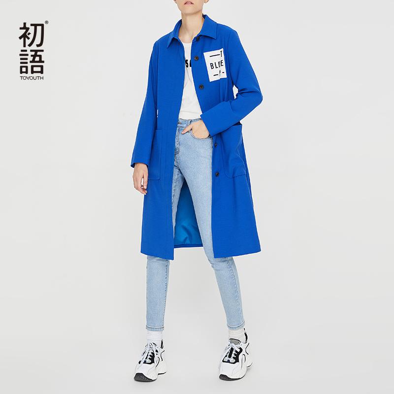 Toyouth Blue Long Trench Coat For Women Stright Ladies Winter Trench Coat Solid Embroidery Overcoats Automne 2018 Coat Femme